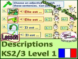 primary french lesson ks2 3 describe some family and friends tre to be singular song. Black Bedroom Furniture Sets. Home Design Ideas