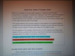 Animal Farm-Grade 8-9 Exemplar Answer on Corruption