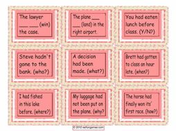 Past Perfect Tense Cards 4 Pages = 36 Cards
