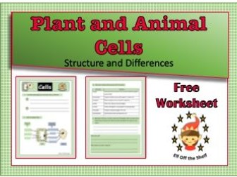 KS4 Plant and Animal Cells Structure and Differences Worksheet