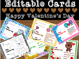 Editable Valentine Cards (By The House Of Education )
