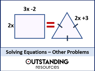 Solving Equations 3 - Forming and Solving Linear Equations (Perimeter & Other Problems) + worksheet