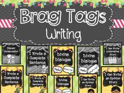 Writing Brag Tags black and white