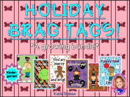HOLIDAY Brag Tags- a growing bundle! (Kindergarten)