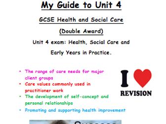 Health and Social Care GCSE Unit 4 (Edexcel) revision guide / exam preparation