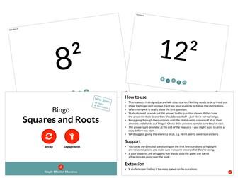 Squares and Roots (Bingo)