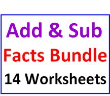 Addition and Subtraction Facts Bundle 14 Worksheets