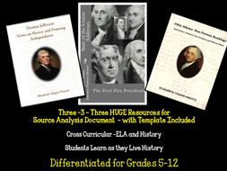 ELA/History Cross Curricular Source Document Analysis State of the Union Speech/Thomas Jefferson and John Adams