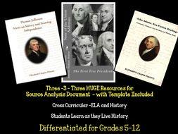 ELA/History Cross Curricular Source Document Analysis State of the Union Speech/Thomas Jefferson and John Adams