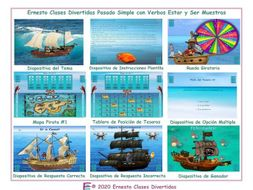 Past Simple Tense with Verbs Ser and Estar Spanish Treasure Hunt Interactive PowerPoint Game