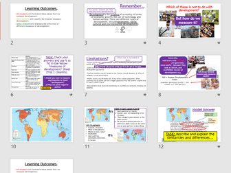 AQA GCSE CHANGING ECONOMIC WORLD: L1 -Measuring Development (Lessons + Resources).