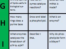 Biological molecules revision game - A level Biology