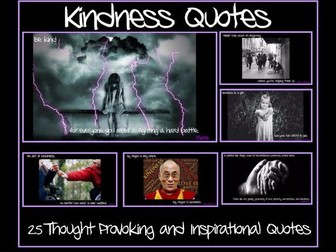 Set of 25 Thought Provoking Kindness Quotes - Ideal for Random Acts of Kindness Weeks / Days