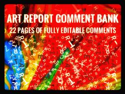 Art Report Comment Bank for 2019