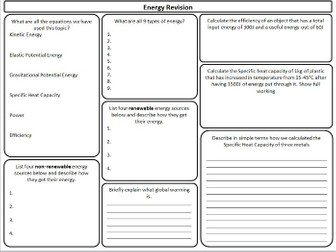 AQA Energy topic revision sheets - new curriculum