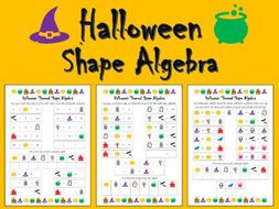Halloween Shape Algebra Worksheets - Differentiated