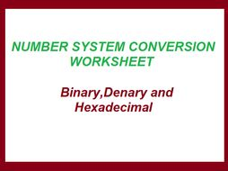 Number System Conversions worksheet