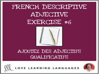 French Descriptive Adjectives Exercise #6 - Ajoutez un adjectif qualificatif