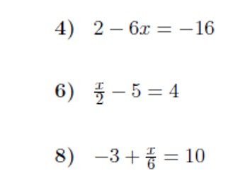 3 Worksheets on linear equations (one-step, two-step and with ...