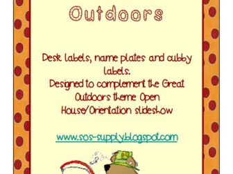 Back to School Name Plates/Desk/Drawer Labels - Great Outdoors Theme (suitable for UK and US)