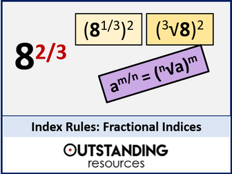 Index Rules 3 - Fractional Indices and Fractions with a Power (Index Laws ) + worksheet