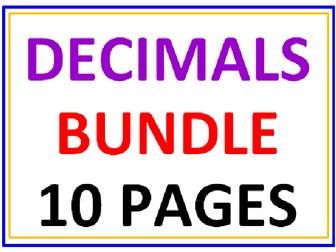 Decimals Bundle 10 Worksheets