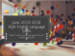 Paper 1 and 2, June 2019 GCSE English Language Exam