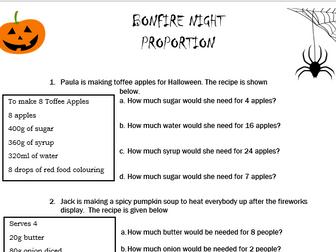 GCSE Maths/Functional Skills-Halloween Proportions