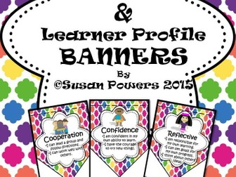 Bright IB PYP Learner Profile and Attitudes Bunting Display
