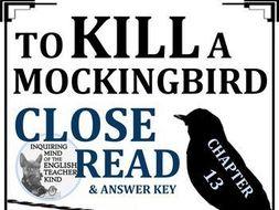 To Kill a Mockingbird Close Reading Worksheet - Chapter 13