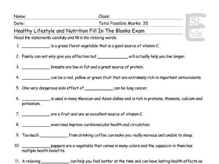 picture regarding Printable Nutrition Quiz titled Healthier Everyday living-Nutrients Fill Inside of The Blanks Test
