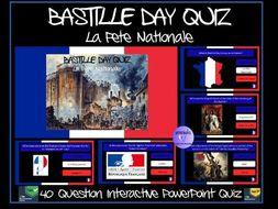 Bastille Day / French Revolution PowerPoint Quiz (La Fête Nationale) - 40 Questions