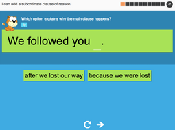 I can add a subordinate clause of reason - Interactive Activity - Year 3 Spag