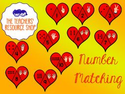 Number Matching Puzzle Hearts 1-10