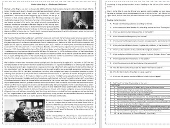 Martin Luther King Jr.  - Black History Month   - Reading Comprehension and Vocabulary worksheet