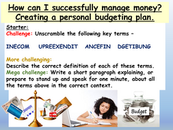 money skills budgeting by ec resources teaching resources. Black Bedroom Furniture Sets. Home Design Ideas