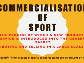 GCSE AQA PE - Commercialisation in Sport