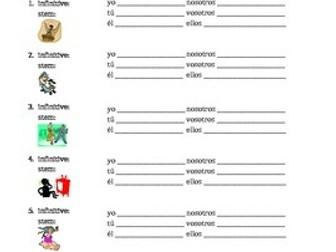 AR Verbs in Spanish Verbos AR Present tense Worksheet 3