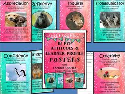 IB PYP Learner Profile and Attitudes Posters with Famous Quotes