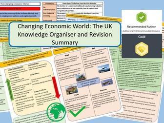 GCSE AQA 9-1 : UK Economic World, Knowledge Organisers and Revision Summaries.
