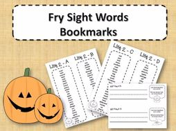 Fry Sight Word Bookmarks - 1 to 1000 - Halloween