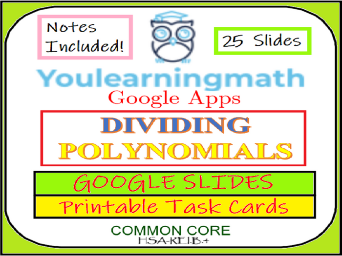 image about Printable Task Cards referred to as Dividing Polynomials: GOOGLE Slides + Printable Undertaking Playing cards