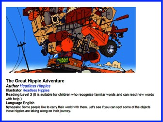 Can you spot it? The great hippie adventure! Level 2 English Reading Game.