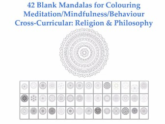 Collection of 42 Blank Mandalas for Colouring  [Coloring] [Meditation / Mindfulness / Behaviour]