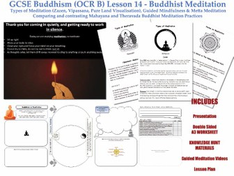 GCSE - Buddhism -Lesson 14  [Buddhist Meditation, Types of Meditation, Vipassana... ] FULL RESOURCES