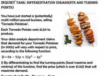 Differentiation (Gradients and Turning Points) Inquiry Task