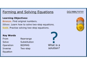 Algebra 14/31 Forming and Solving Equations