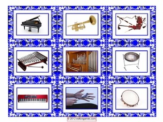 Musical Instrument Cards 4 Pages = 36 Cards