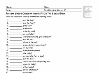 Present Simple Tense with Information Question Words Fill In The Blanks Exam