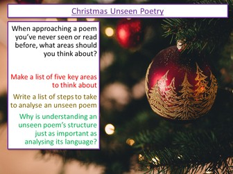 Christmas Unseen Poetry